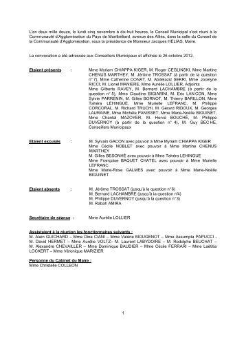 Consulter le Procès-verbal du 5 novembre 2012 - Montbéliard