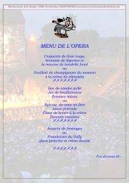 MENU DE L'OPERA - Restaurant des Bains