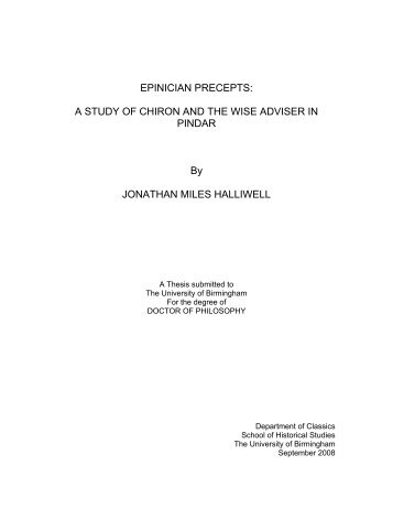 epinician precepts - eTheses Repository - University of Birmingham