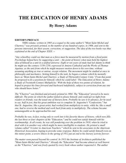 THE EDUCATION OF HENRY ADAMS - WW Norton & Company