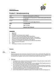 Protokoll 1. Generalversammlung - Grünliberale Partei Kanton Zürich