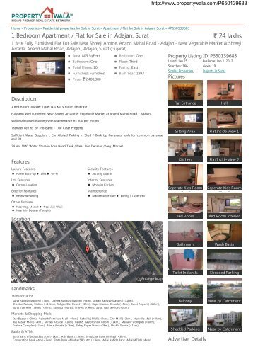 1 Bedroom Apartment / Flat for Sale in Adajan, Surat (#P650139683)