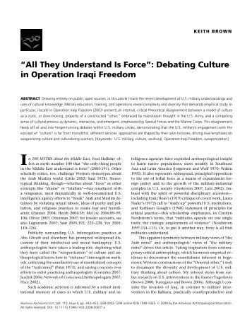 """All They Understand Is Force"": Debating Culture in Operation Iraqi ..."