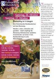 Information zur Schlemmertour 2013! - Touristikgemeinschaft ...