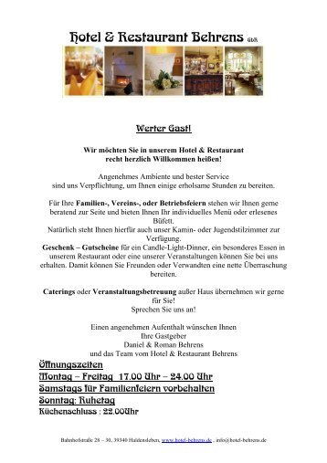 Restaurant - Hotel Behrens
