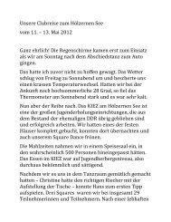 Bericht von Ingeborg - Hans Krackau