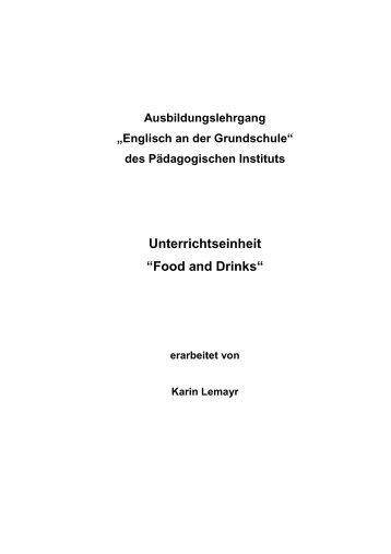"""Unterrichtseinheit """"Food and Drinks"""""""