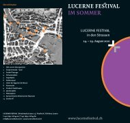 Programm zum Strassenfestival - Lucerne Festival