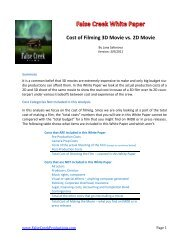 Cost of Filming 3D Movie vs. 2D Movie - False Creek Productions