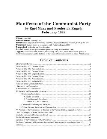 Manifesto of the Communist Party - Marxists Internet Archive