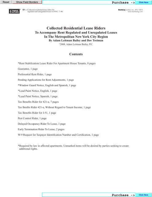 Collected Residential Lease Riders Blumberg Legal Forms Online