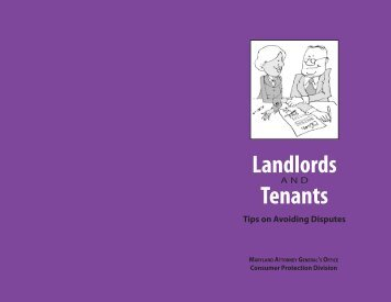 Landlords and Tenants: Tips on Avoiding Disputes - Maryland ...
