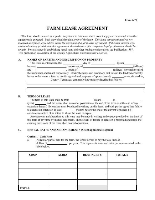 Farm Lease Agreement The University Of Tennessee