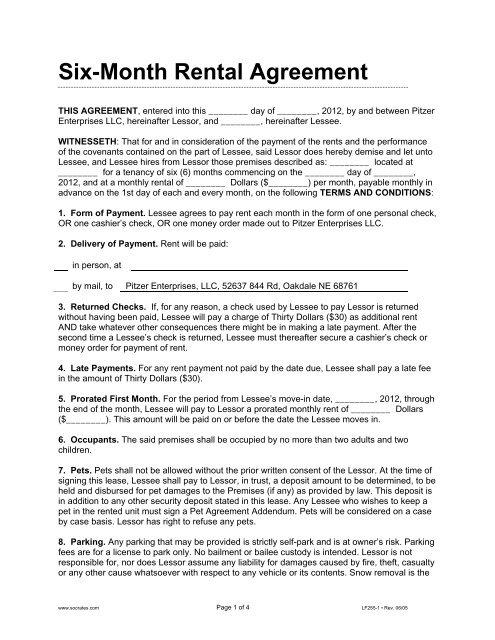 Six Month Rental Agreement Pitzer Enterprises Llc