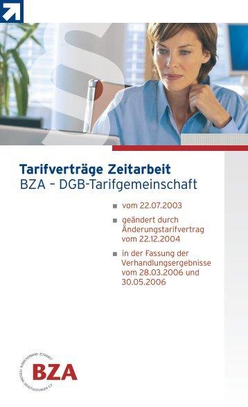 Tarifverträge Zeitarbeit BZA – DGB-Tarifgemeinschaft