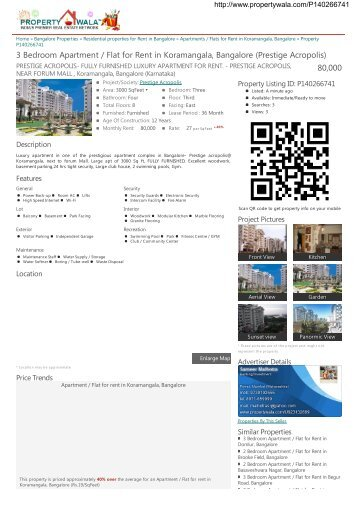 3 Bedroom Apartment / Flat for Rent in Koramangala, Bangalore ...