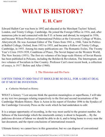 What is History / by Edward Hallett Carr - Universal History Library