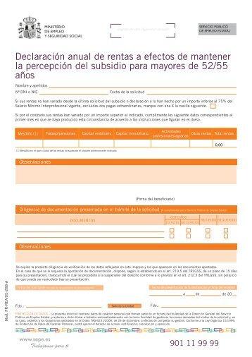 Declaración anual de rentas a efectos de mantener - Servicio ...