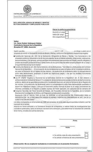 Declaración Jurada de Bienes y Rentas CGR