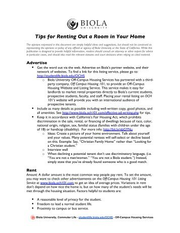 How to Rent a Room in Your Home - Student Life - Biola University