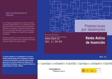 Prestaciones por desempleo Renta Activa de Inserción - Servicio ...