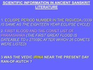 SCIENTIFIC INFORMATION IN ANCIENT SANSKRIT LITERATURE ...
