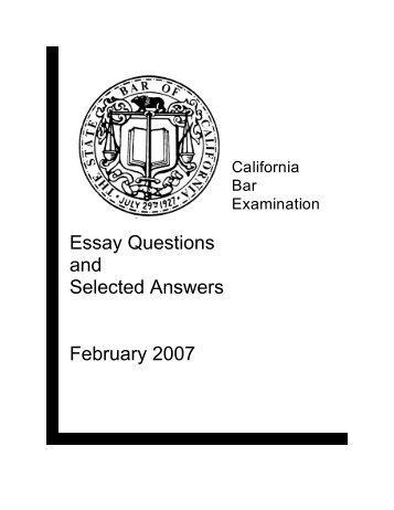 essay question no answer this question in booklet no  essay questions and selected answers future lawyers
