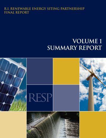 Volume I. Summary Report - Rhode Island Sea Grant - University of ...
