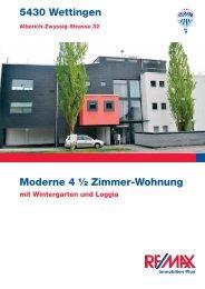 5430 Wettingen Moderne 4 ½ Zimmer-Wohnung - Marisol Garcia ...