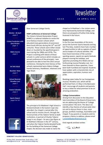 Newsletter - Somerset College