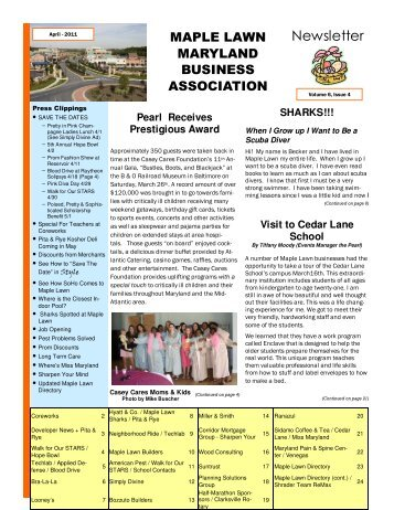 Maple Lawn Maryland Business Association Newsletter - April