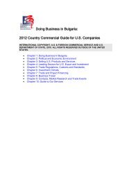 Bulgaria Country Commercial Guide 2012 - Export.gov