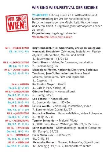 23 Ateliers WIR SIND WIEN.FESTIVAL DER ... - Basis.Kultur.Wien