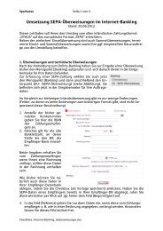 Umsetzung Überweisungen im Internet-Banking - Sparkasse Trier
