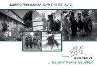 Jahresprogramm und Preise 2012 ... ... Islandpferde erleben