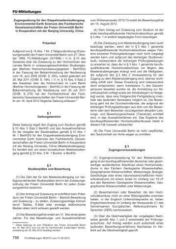 Zugangssatzung - Fachbereich Geowissenschaften - Freie ...