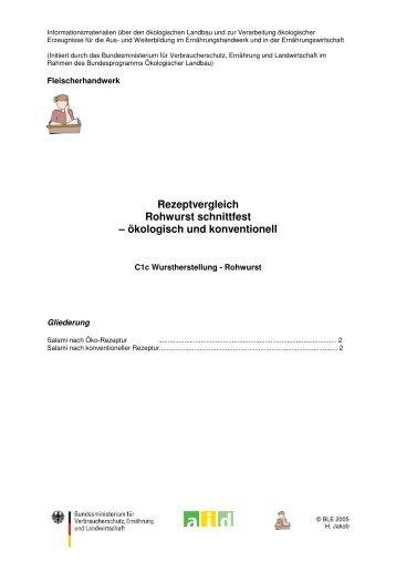 Rezeptvergleich Rohwurst schnittfest ... - Oekolandbau.de