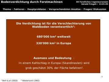 Bodenverdichtung durch Forstmaschinen - ETH - LUE