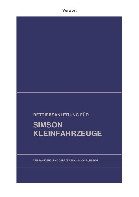 (1 Betriebsanleitung f\374r die Simson Kleinroller KR51 'Schwalbe ...