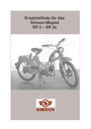 Ersatzteilliste für das Simson-Moped SR 2 – SR 2e
