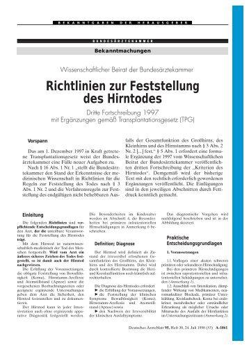 Richtlinien zur Feststellung des Hirntodes [PDF] - Bundesärztekammer
