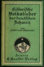 Historische Volkslieder der deutschen Schweiz