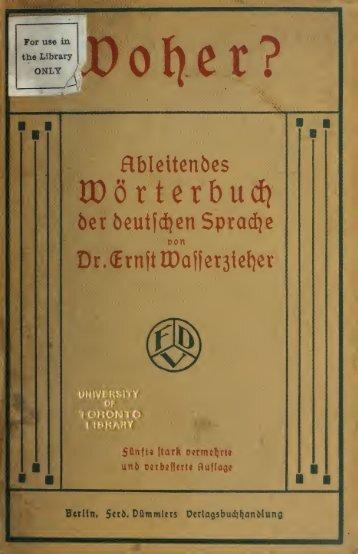 Woher? Ableitendes Wörterbuch der deutschen Sprache