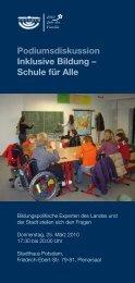 Podiumsdiskussion Inklusive Bildung – Schule für Alle