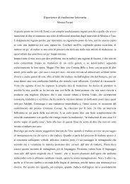 Esperienze di traduzione letteraria