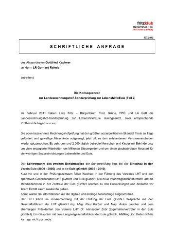 Die Konsequenzen zur Landesrechnungshof ... - Liste Fritz