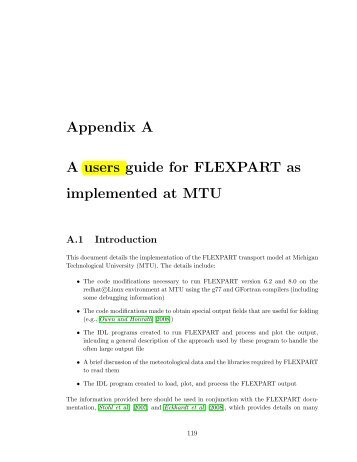 Appendix A A users guide for FLEXPART as implemented at MTU