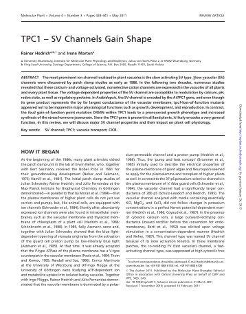 TPC1 – SV Channels Gain Shape - Molecular Plant
