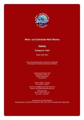Katalog für Kategorie: Sekt - und Getränke-Welt Weiser