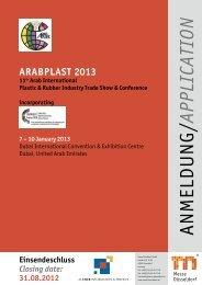 Anmeldung Arabplast 2013
